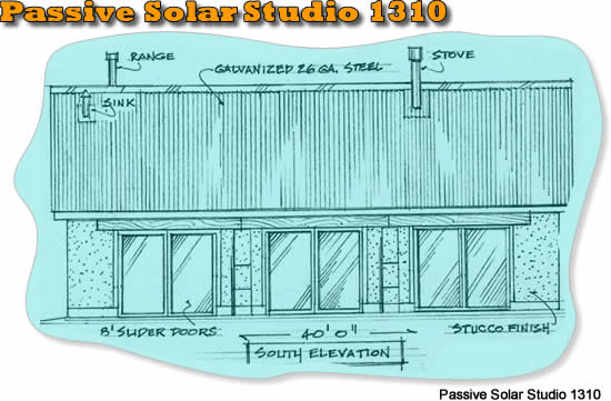 Passive solar studio house plan 1310 affordable adobe for Simple passive solar house plans