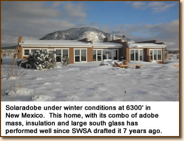 Solaradobe under winter conditions at 6300' in New Mexico.