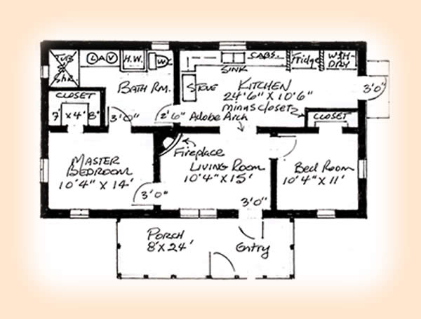 2 bedroom adobe house plans adobe house plan 1248 for Small adobe house plans