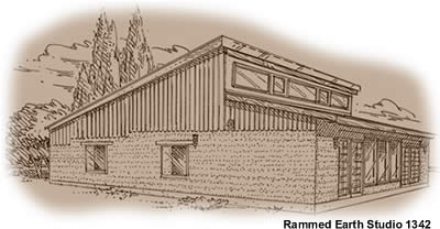 One bedroom rammed earth studio house plan 1342