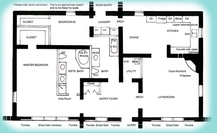 Solar Adobe House Plan   Affordable solaradobe house plansClick to view larger image of house plan