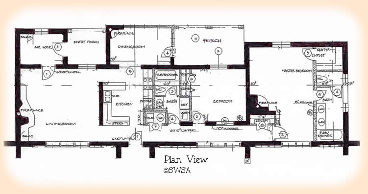 2 bedroom adobe house plans adobe house plan 1930 for Small adobe house plans