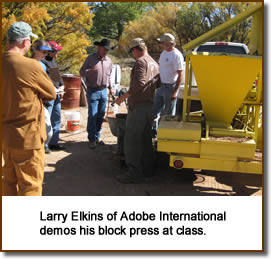 Larry Elkins of Adobe International demos his block press at class.