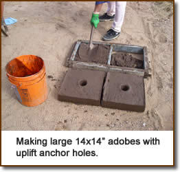"Making large 14x14"" adobes with uplift anchor holes."