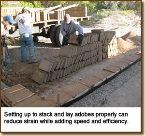 Setting up to stack and lay adobes properly can reduce strain