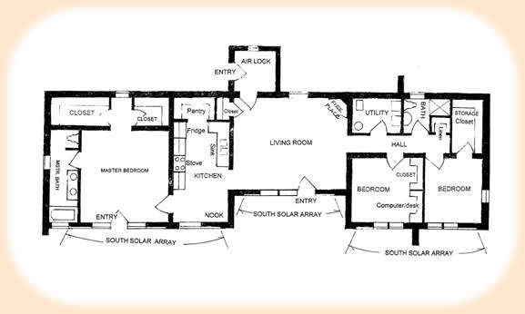 Solar adobe house plan 1870 for Passive solar house floor plans