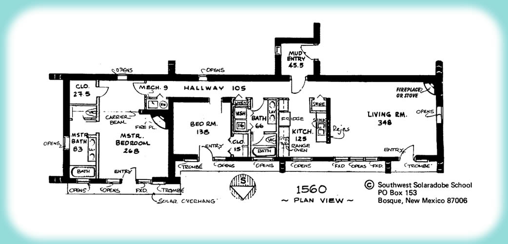 Solar Adobe House Plan 1560